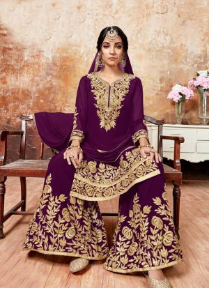 Dark Purple Foux Georgette Designer Sharara Style Salwar Suit With Ribbon Work