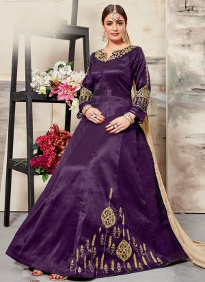 Dark Purple Malbari Silk Eid Collection Salwar Suit
