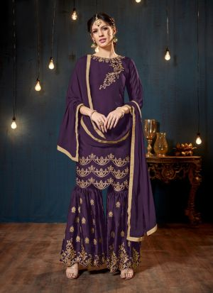 Dark Purple Satin Georgette Designer Sharara Style Salwar Suit With Heavy Work
