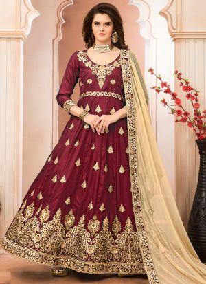 Dark Red Heavy Embroidery Aanaya Latest Style Partywear Suit