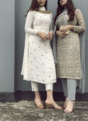 Dazzling Cotton Party Wear White Salwar Suit