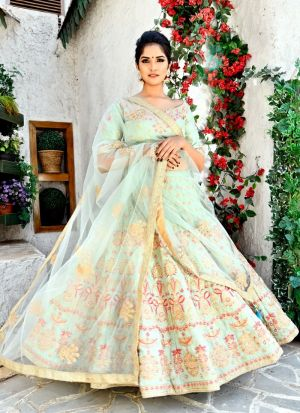 Delightful Fern Green Goldy Silk Designer Lehenga Choli For Engagement