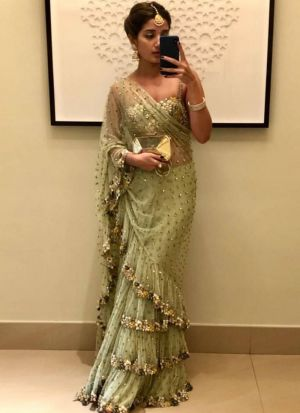 Demanded Light Green Fancy Thread Work Butterfly Pallu Frill Saree