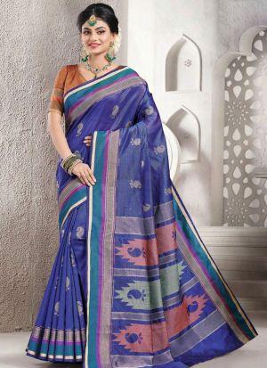 Demanding Blue Handloom Silk Saree