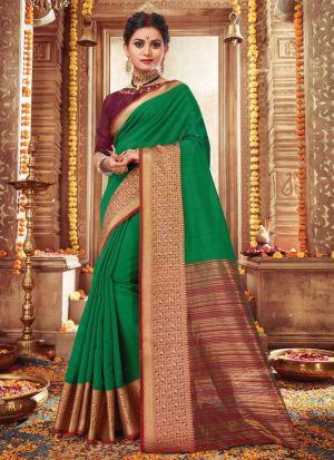 Demanding Green Handloom Silk Saree