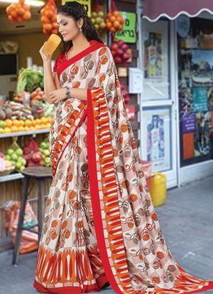 Demanding Multi Color Crepe Beautiful Saree