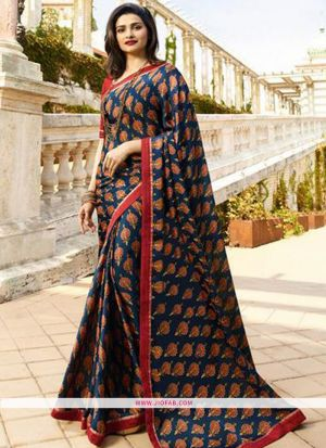 Designer Attractive Printed Dark Blue Saree With Border