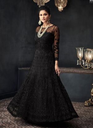 Designer Black Heavy Net Anarkali Style Long Salwar Suit