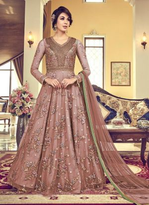Designer Brown Heavy Net Anarkali Style Long Salwar Suit