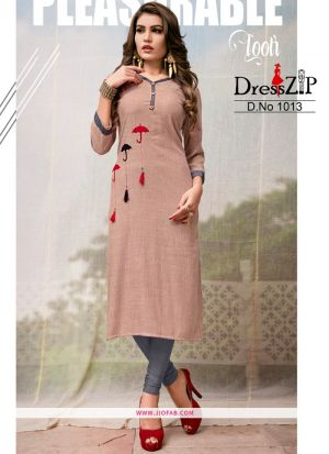 Designer Brown Rayon Plain Long Kurti