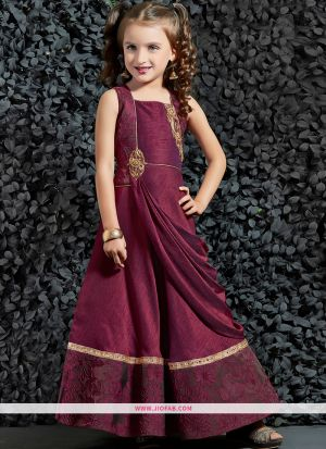 Designer Burgundy Malbari Silk Indian Gown For Kids Girl