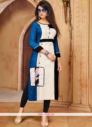 Designer Casual Blue And White 14 Kg Rayon Cotton Straight Kurti