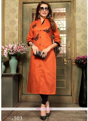 Designer Casual Orange Khadi Cotton Aplic Work Straight Kurti