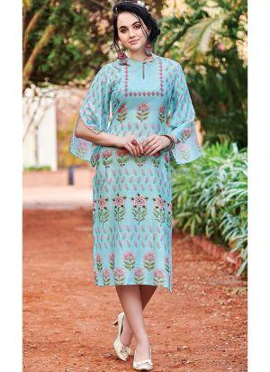 Designer Cotton Baby Blue Kurti For Girl