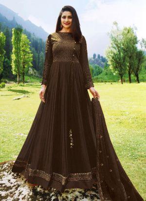 Designer Dark Brown Georgette Salwar Kameez Dresses For Eid