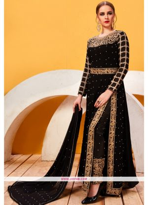 Designer Embroidered Black Georgette Partywear Suit