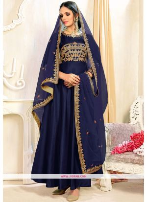 Designer Embroidered Royal Blue Satin Taffeta Partywear Suit