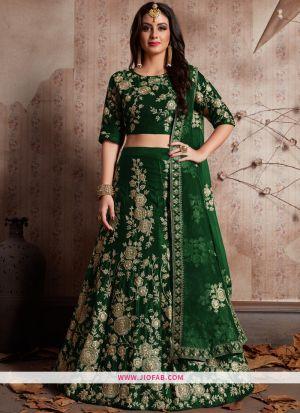 Designer Green Embroidered Velvet Silk Wedding Anarkali Lehenga
