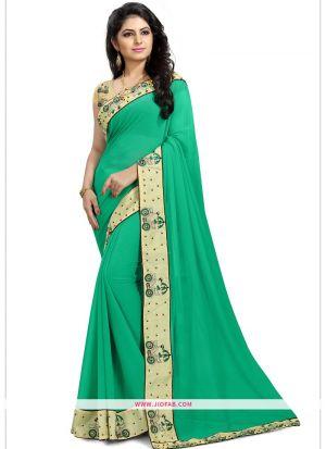 Designer Green Function Wear Georgette Saree