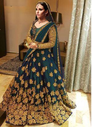 Designer Green Kerala Silk Embroidered Wedding Lehenga Choli With Mono Net Dupatta