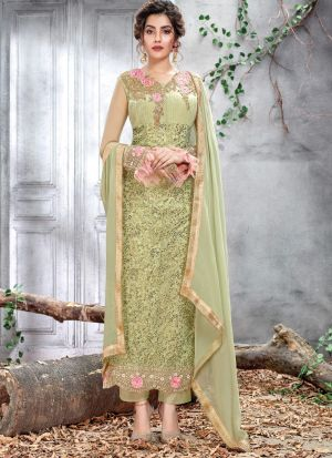 Designer Green Net Straight Cut Suit For Ceremony