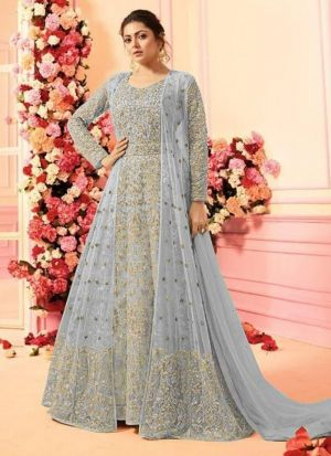 Designer Grey Heavy Net Anarkali Style Long Salwar Suit