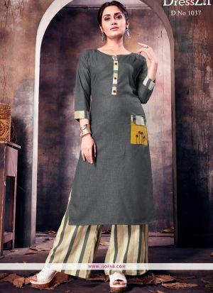 Designer Grey Ruby Cotton Plain Long Kurti