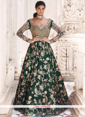 Designer Latest New Arrival Partywear Dark Green Gown