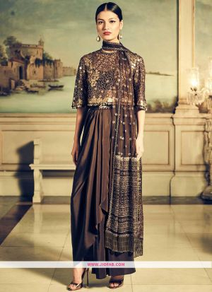 Designer Latest New Arrival Partywear Mocha Color Gown