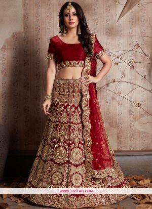 Designer Maroon Embroidered Velvet Silk Bridal Anarkali Lehenga
