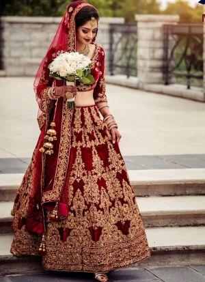 Designer Maroon Pure Velvet Diamond Work Wedding Lehenga Choli With Mono Net Dupatta