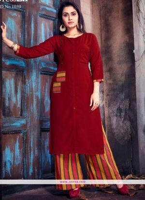 Designer Maroon Ruby Cotton Plain Long Kurti