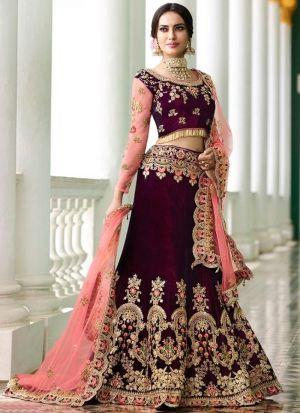 Designer Maroon Velvet Fancy Thread Work Lehenga Choli With Mono Net Dupatta