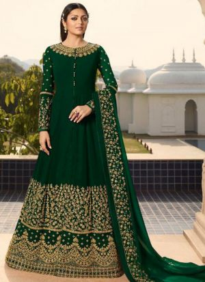 Designer Mehandi Faux Georgette Anarkali Style Long Salwar Suit