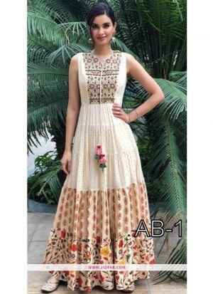Designer Multi Color Banarasi Kurti For Girls And Women
