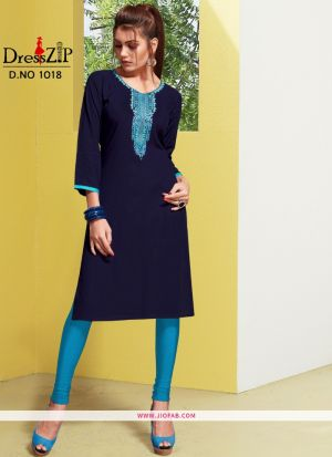 Designer Navy Rayon Embroidered Long Kurti