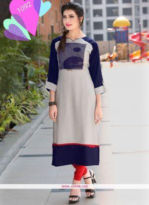 Designer Navy Rayon Printed Long Kurti