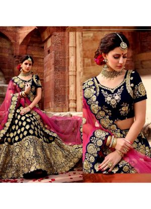 Designer Navy Velvet Embroidered Wedding Lehenga Choli With Mono Net Dupatta
