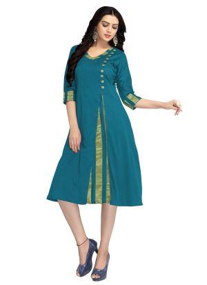 Designer Occasion Wear Green Cotton Silk Kurti
