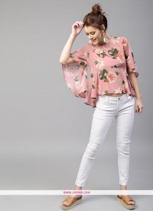 Designer Partywear Baby Pink Franch Crepe Print Fancy Top
