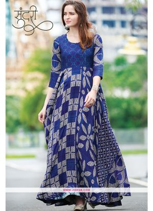 Designer Partywear Blue Maslin Cotton Gown