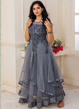 Designer Partywear Grey Soft Net Gown