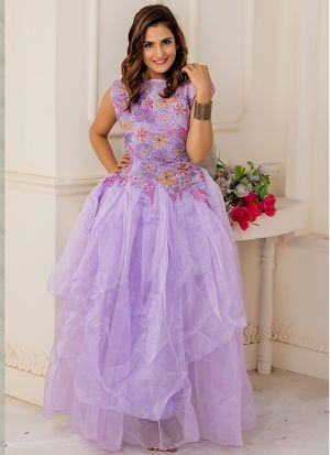 Designer Partywear Light Purple Soft Net Gown