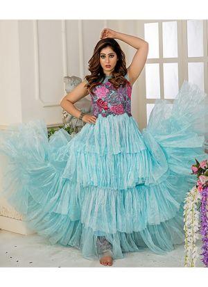 Designer Partywear Light Sky Blue Soft Net Gown