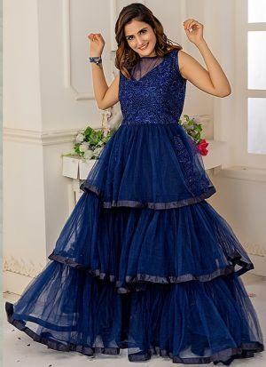 Designer Partywear Navy Soft Net Gown