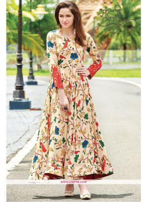 Designer Partywear Peach Maslin Cotton Digital Printed Gown