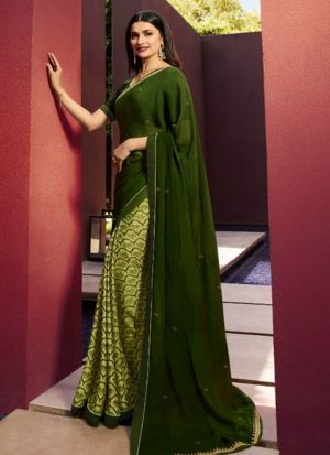 Designer Partywear Printed Olive Green White Rangoli Fancy Saree