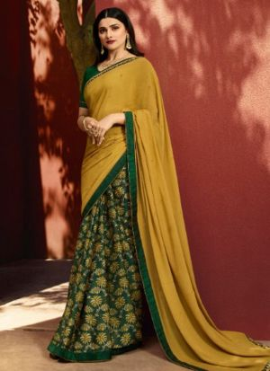 Designer Partywear Printed Yellow And Green White Rangoli Fancy Saree