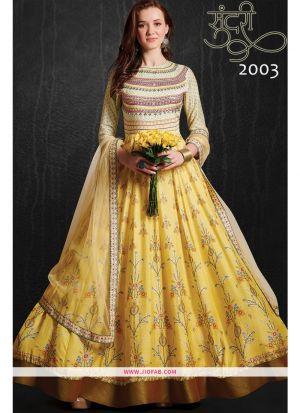 Designer Partywear Yellow Maslin Gown