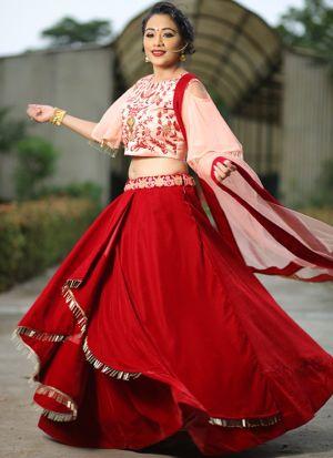 Designer Red Color Velvet Traditional Lehenga Choli